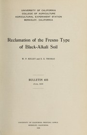 Cover of: Reclamation of the Fresno type of black-alkali soil