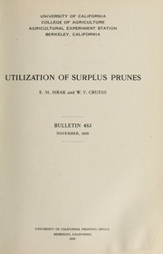 Cover of: Utilization of surplus prunes