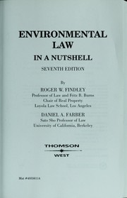 Cover of: Environmental law in a nutshell | Roger W. Findley