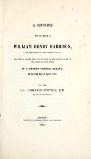 Cover of: A discourse on the death of William Henry Harrison, late president of the United States