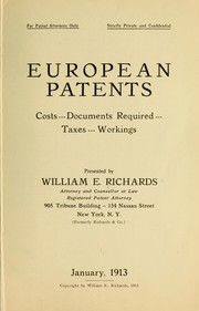 Cover of: European patents