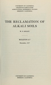 Cover of: The reclamation of alkali soils