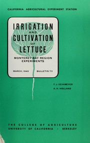 Cover of: Irrigation and cultivation of lettuce