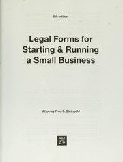 Cover of: Legal forms for starting & running a small business | Fred Steingold