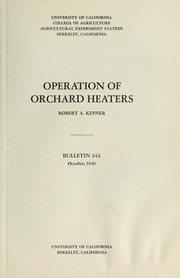 Cover of: Operation of orchard heaters