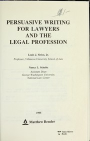 Cover of: Persuasive Writing for Lawyers and the Legal Profession