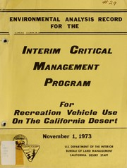 Cover of: Interim critical management program for recreation vehicle use on the California desert