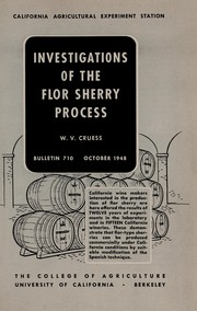 Cover of: Investigations of the flor sherry process