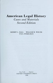 Cover of: American legal history by Kermit Hall, Kermit L. Hall