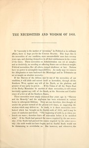 Cover of: The necessities and wisdom of 1861