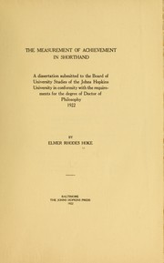 Cover of: The measurement of achievement in shorthand
