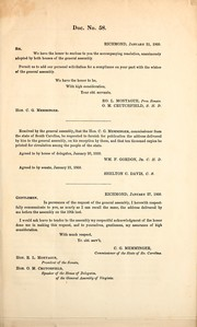 Cover of: Address of the Hon. C.G. Memminger, special commissioner from the state of South Carolina