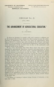 Cover of: The advancement of agricultural education