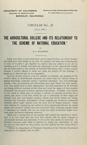 Cover of: The agricultural college and its relationship to the scheme of national education