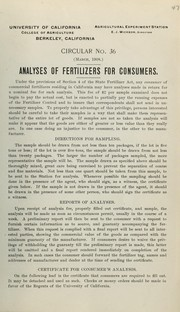 Analyses of fertilizers for consumers