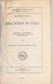 Cover of: Education in Italy