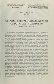 Cover of: Growing the fall or second crop of potatoes in California