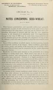 Cover of: Notes concerning seed-wheat