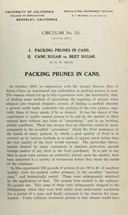 Cover of: Packing prunes in cans ; Cane sugar vs. beet sugar