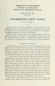 Cover of: Unfermented fruit juices
