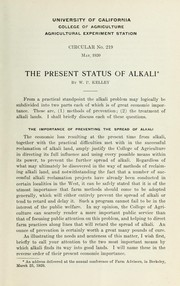 Cover of: The present status of alkali | W. P. Kelley
