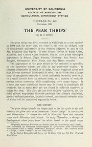 Cover of: The pear thrips