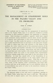 Cover of: The management of strawberry soils in the Pajaro Valley and its problems