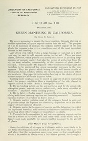Cover of: Green manuring in California