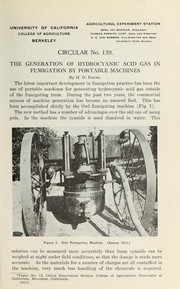 Cover of: The generation of hydrocyanic acid gas in fumigation by portable machines | H. D. Young