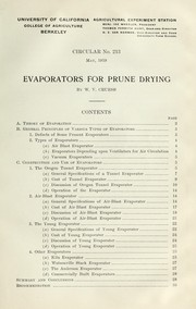 Cover of: Evaporators for prune drying