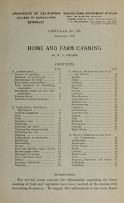 Cover of: Home and farm canning