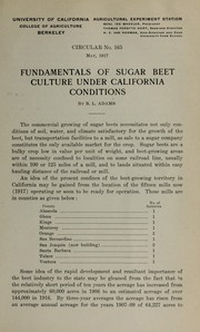 Cover of: Fundamentals of sugar beet culture under California conditions | R. L. Adams