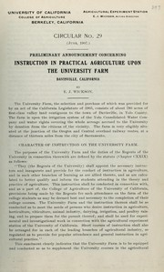 Cover of: Preliminary announcement concerning instruction in practical agriculture upon the university farm, Davisville, California