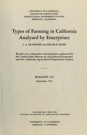 Cover of: Types of farming in California analyzed by enterprises | L. A. Crawford