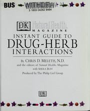 Cover of: Instant guide to drug-herb interactions | Chris D Meletis