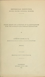 Cover of: First draft of a system of classification for the World's Columbian Exposition