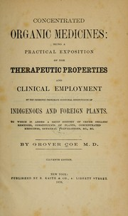 Cover of: Concentrated organic medicines | Grover Coe