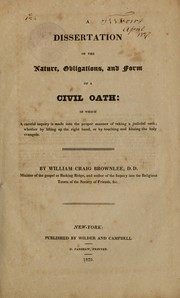 Cover of: A dissertation on the nature, obligations, and form of a civil oath