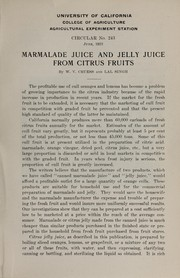 Marmalade juice and jelly juice from citrus fruits by W. V. Cruess
