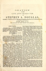 Cover of: Oration on the life and character of Stephen A. Douglas | Daniel Read