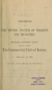 Cover of: Address on the metric system of weights and measures