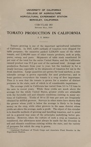 Cover of: Tomato production in California