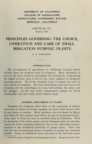 Cover of: Principles governing the choice, operation and care of small irrigation pumping plants