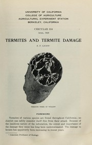 Cover of: Termites and termite damage