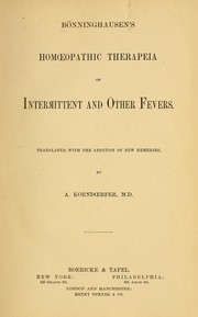 Cover of: Homoeopathic therapeia of intermittent and other fevers