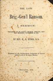 Cover of: The late Brig.-Gen