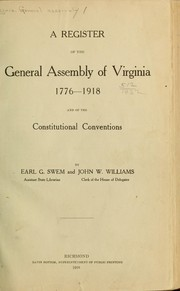 Cover of: A register of the General Assembly of Virginia, 1776-1918 | Virginia. General Assembly.