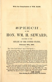 Cover of: Speech of the Hon. Wm. H. Seward