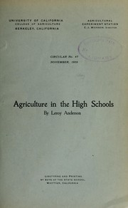 Cover of: Agriculture in the high schools