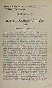 Cover of: Butter scoring contest, 1909